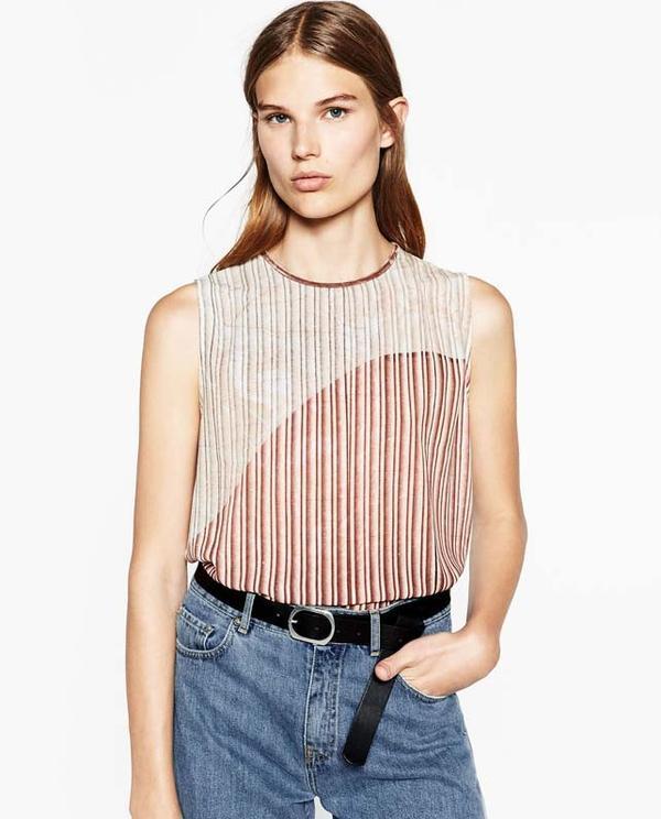 Zara Foil Pleat T-Shirt