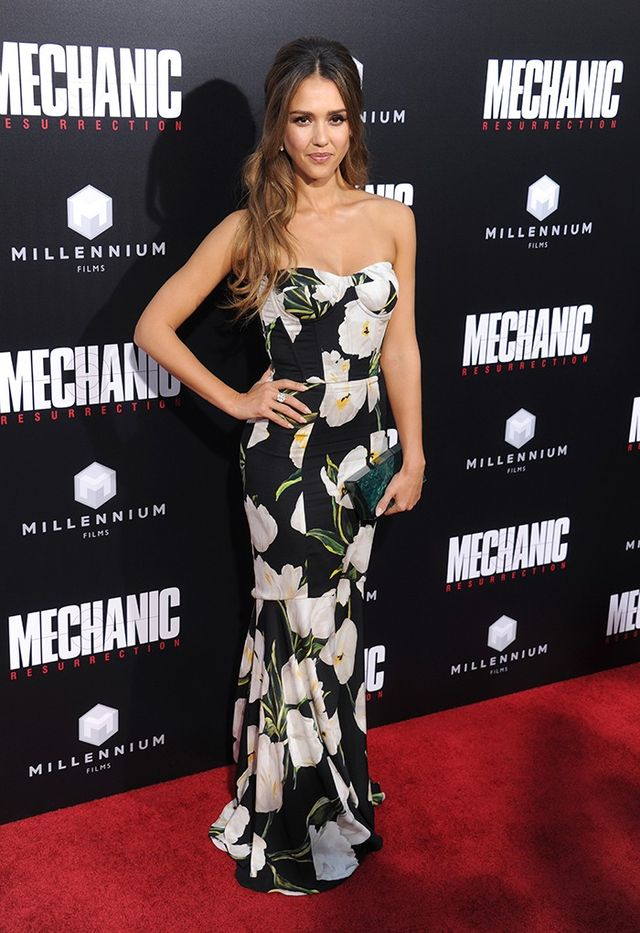 Jessica Alba Mechanic Resurrection Premiere Dolce & Gabbana Dress