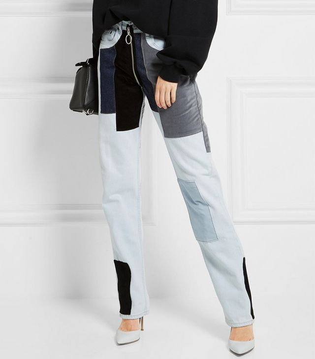 Off-White Patchwork Velvet-Paneled Mid-Rise Straight-Leg Jeans
