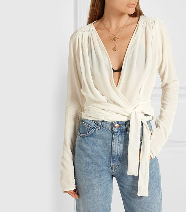 Attico Patti Velvet Wrap Top
