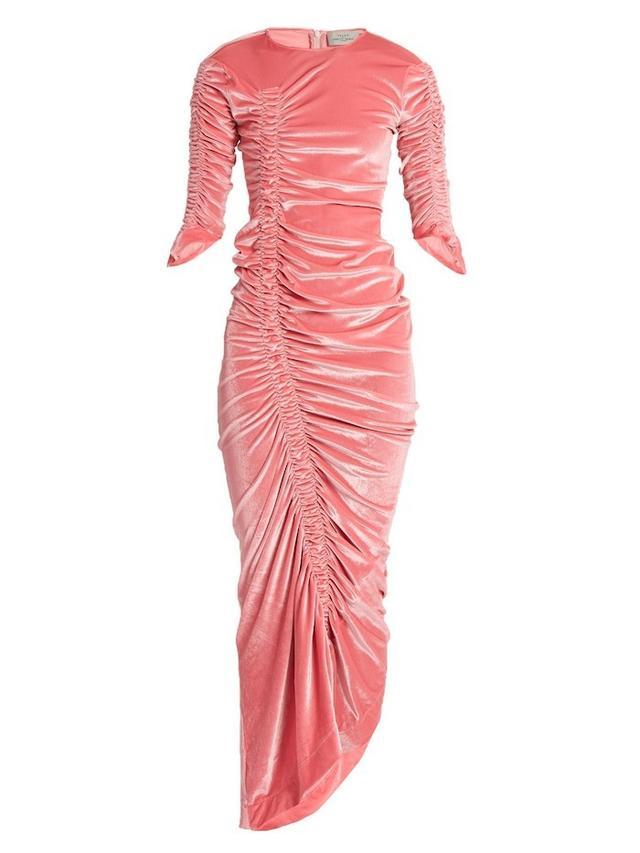 Preen by Thornton Bregazzi Hitch Ruched Velvet Dress