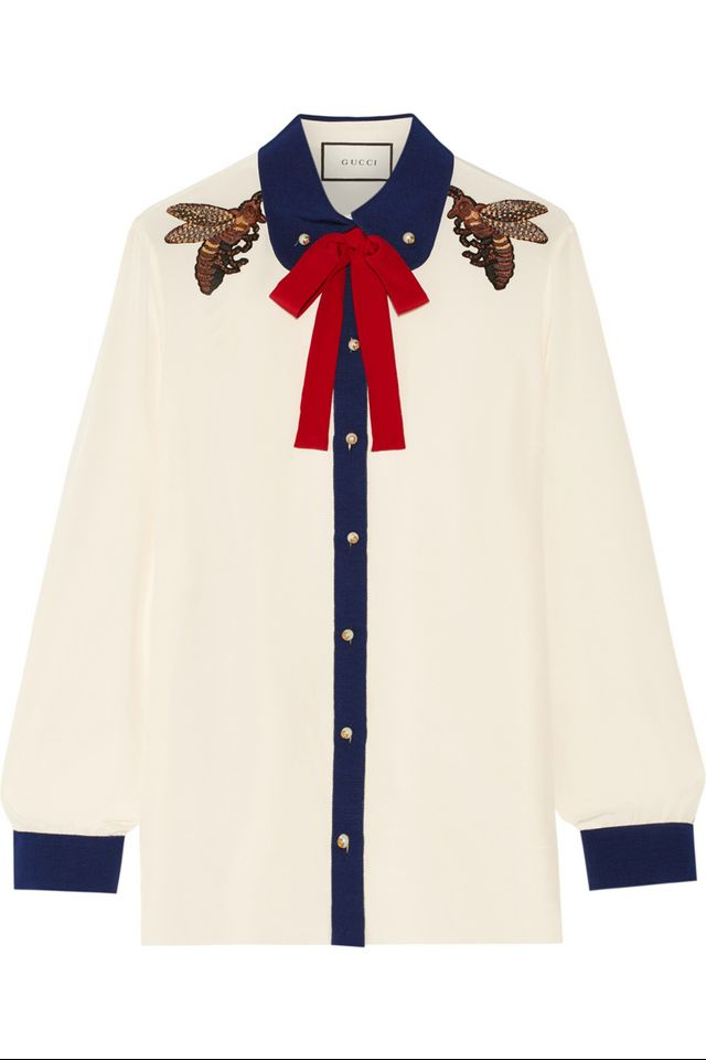 Gucci Pussy Bow Embellished Silk Crepe De Chine Blouse