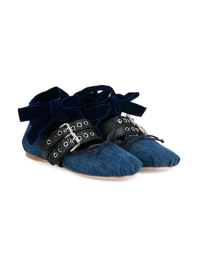 Miu Miu Velvet, Leather & Denim Ballerina Flats