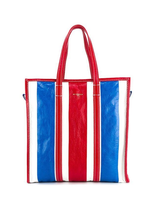 Balenciaga Medium Bazar Stripe Leather Shopper