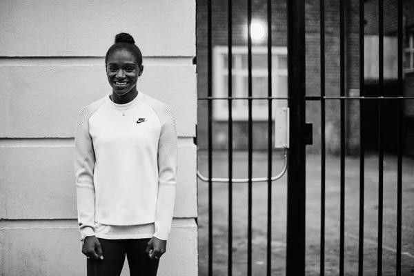 British track and field star Dina Asher-Smith in Nike's Tech Fleece Collection.
