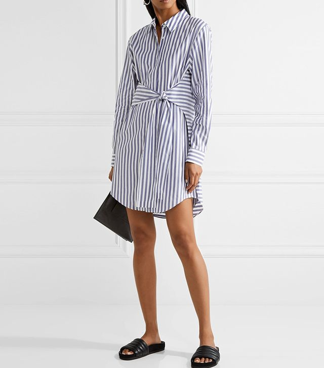 Tie-front Striped Cotton-poplin Mini Dress