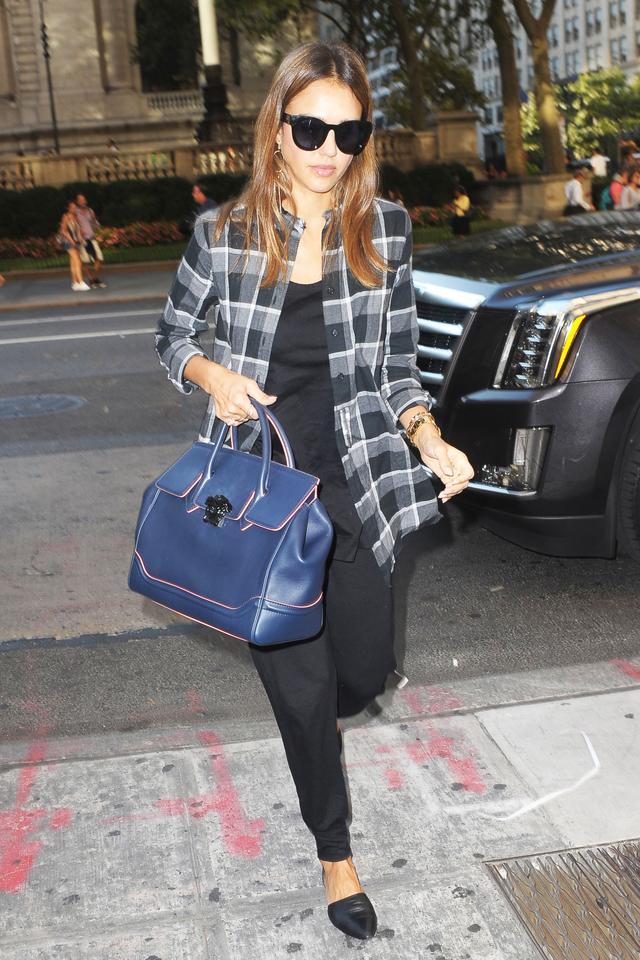 On Jessica Alba: Black Orchid Denim Plaid Shirt ($110); Versachebag; Jenni Kayne flats.