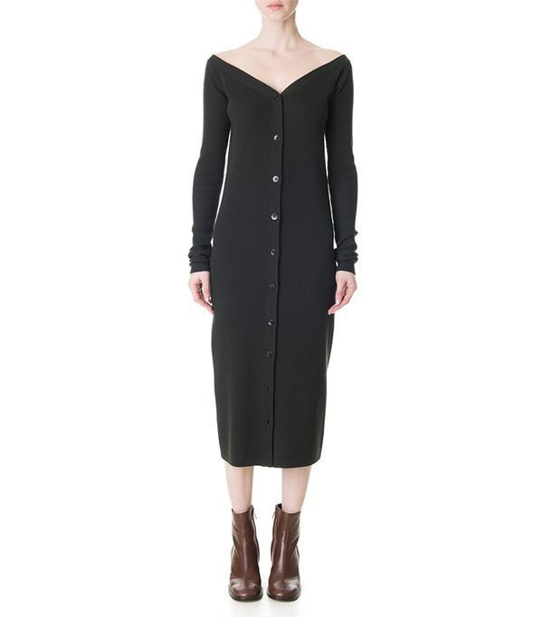Tibi Merino Rib Décolleté Sweater Dress