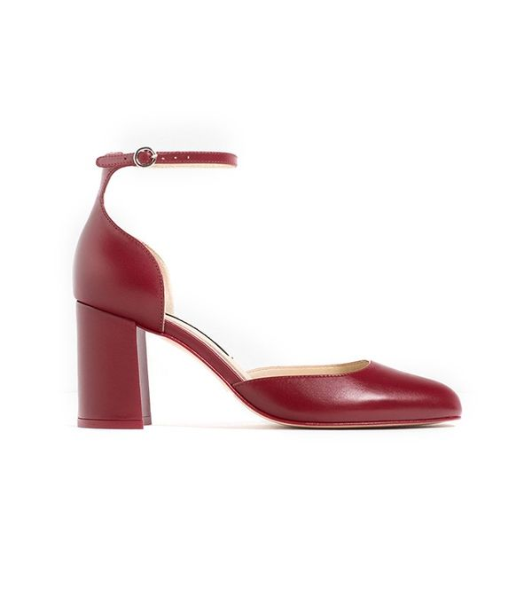 Zara Mid Heel Leather Shoes With Ankle Strap