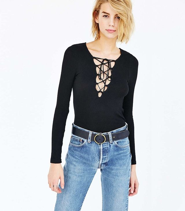 Project Social T Plunge Lace Up Top