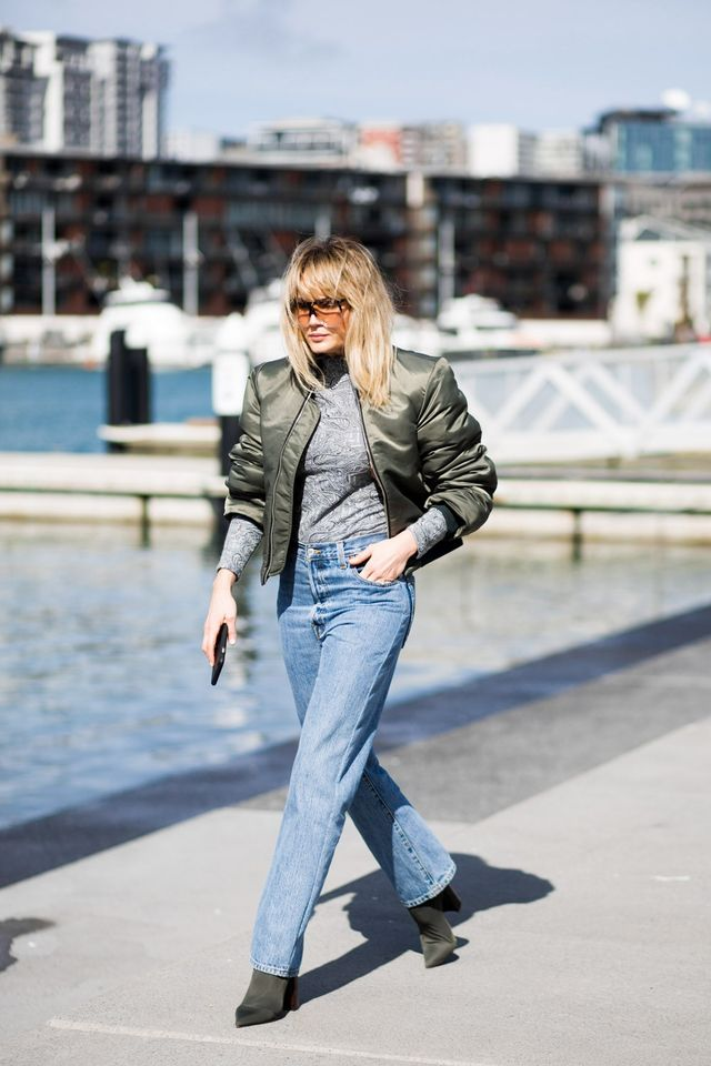 Brooke is wearing head-to-toe Eugenie(a two-year-old New Zealand label that we're now obsessed with) with Tony Bianco boots and Loewe sunglasses. This simple turtleneck/bomber/jeans combo...
