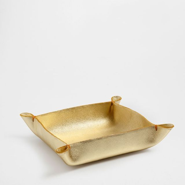 Zara Home Gold Leather Tray