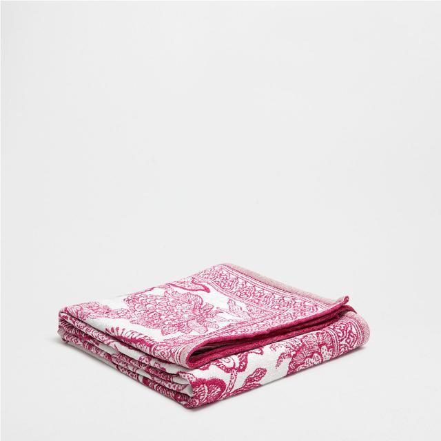 Zara Home Fuchsia Paisley Chenille Blanket