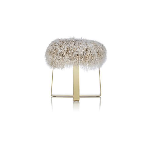 Barneys New York Tibetan Lamb Fur Footstool