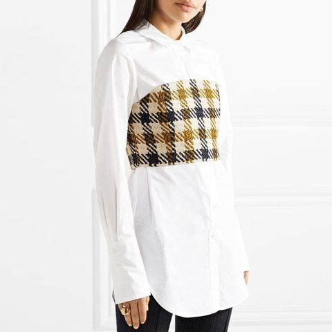 Cotton-Poplin and Checked Tweed Shirt