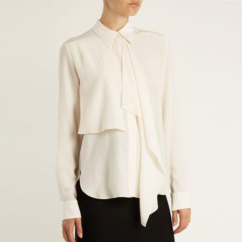 Draped-Front Silk-Crepe Shirt