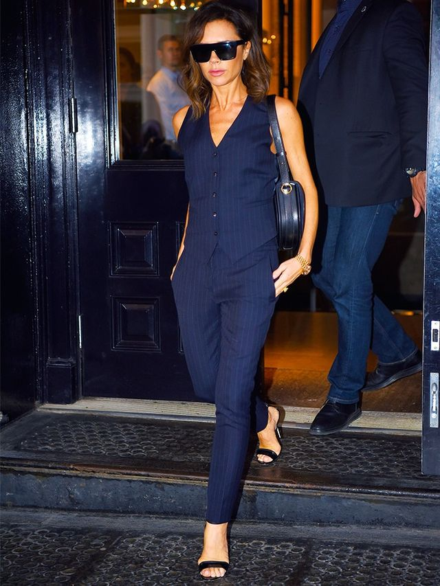 Style Notes: Not only did this make us entirely rethink the waistcoat as a stand-alone piece, but it also highlighted Victoria Beckham's Flat Top Visor Sunglasses (£295),...