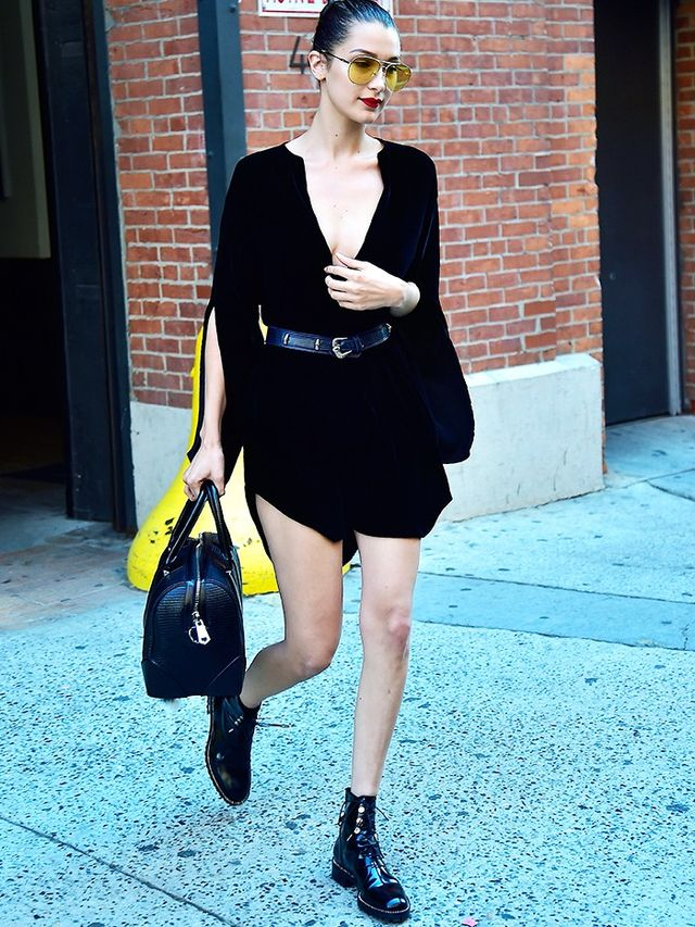Style Notes: Stompy ankle boots? Check. Coloured-lens shades? Check. Slightly risqué dress? Check, check, check. This is a classic Bella Hadid combination if ever we saw one.
