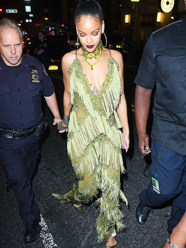 Style Notes: Post-VMAs Rihanna partied the night away in The Dolls House Lana Fringed Jumpsuit (£340), which looked far more expensive than it's price-tag and was surely...