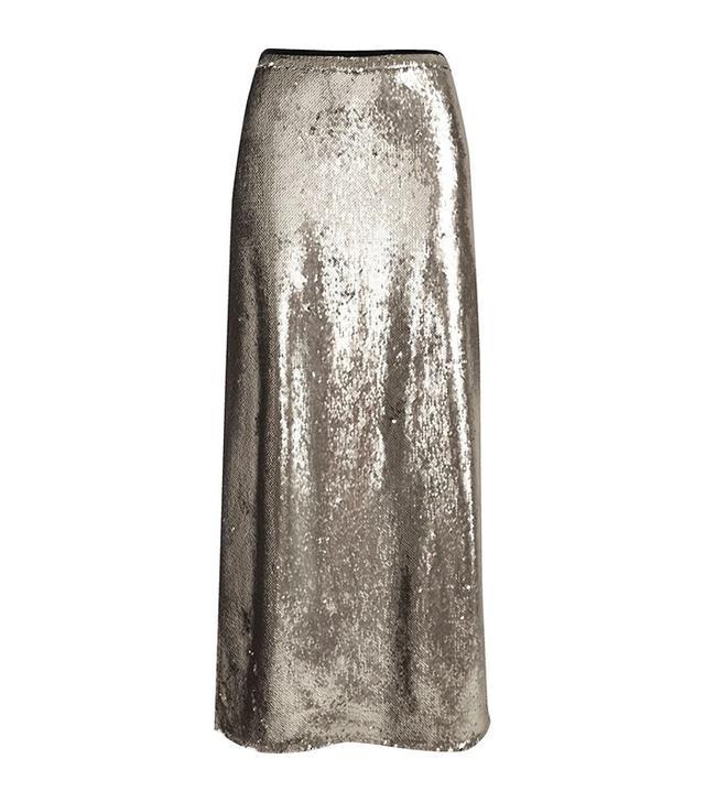 River Island Silver Sequin Maxi Skirt