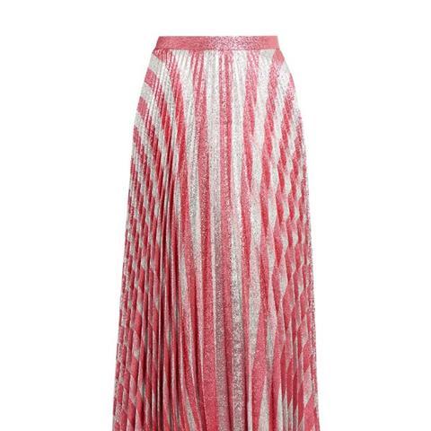 Metallic-Striped Jacquard Midi Skirt