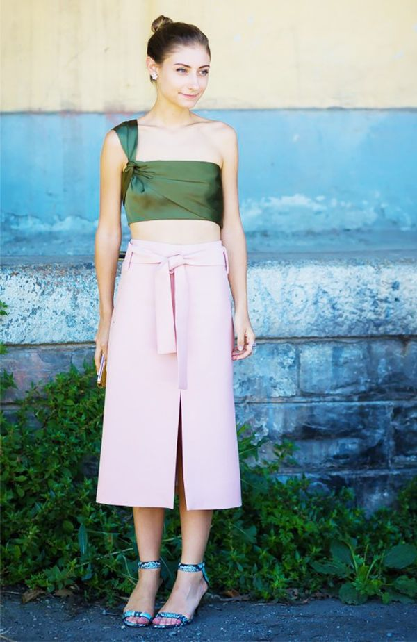Jenny Walton pink skirt green top street style