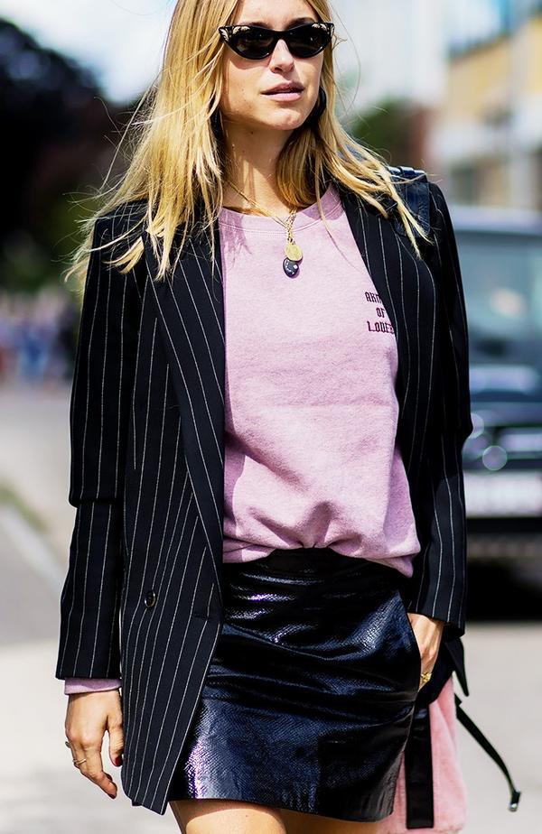Pernille Teisbaek pink sweatshirt striped blazer street style