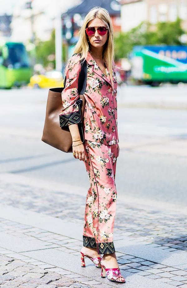 pink floral pajamas street style