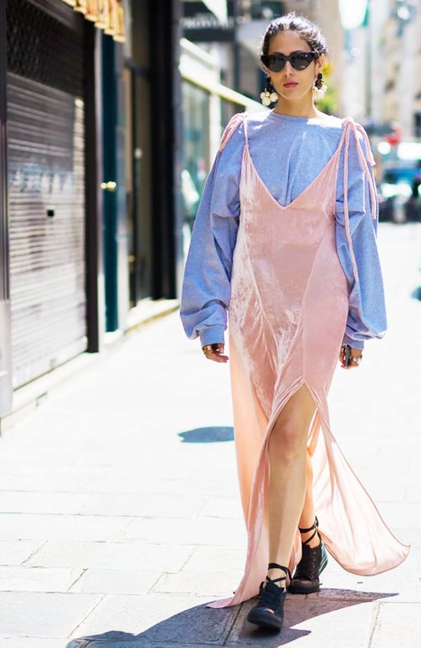 Gilda Ambrosio Velvet slip dress and sweatshirt street style