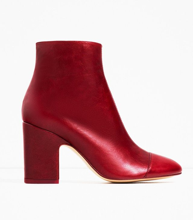 Zara High Heel Leather Boots With Toe Cap