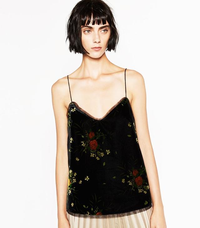 Zara Printed Velvet Camisole Top