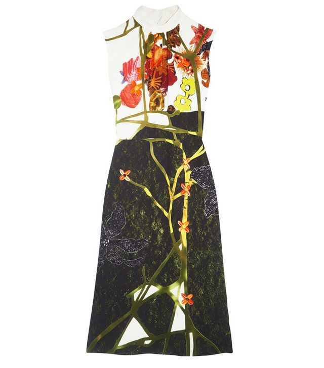 Prada Printed Crepe Midi Dress
