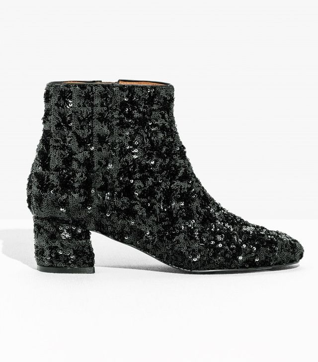 & Other Stories Suede Sequined-Heel Ankle Boot