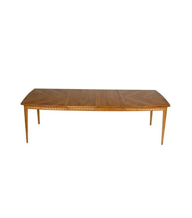 Chairish Vintage 1960s Diamond Accent Walnut Dining Table