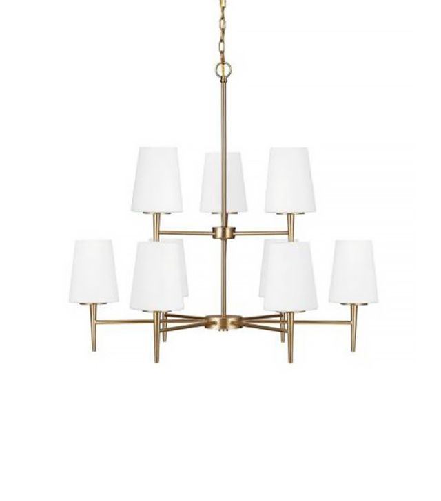 Sea Gull Lighting Driscoll 9-Light Satin Bronze Chandelier with Inside White Painted Etched Glass