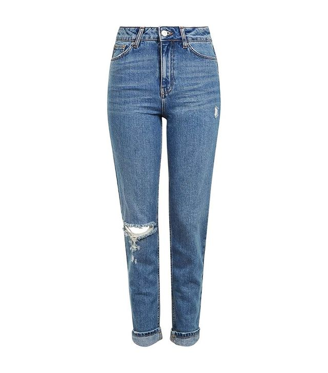 Topshop Moto Mid Blue Rip Mom Jeans