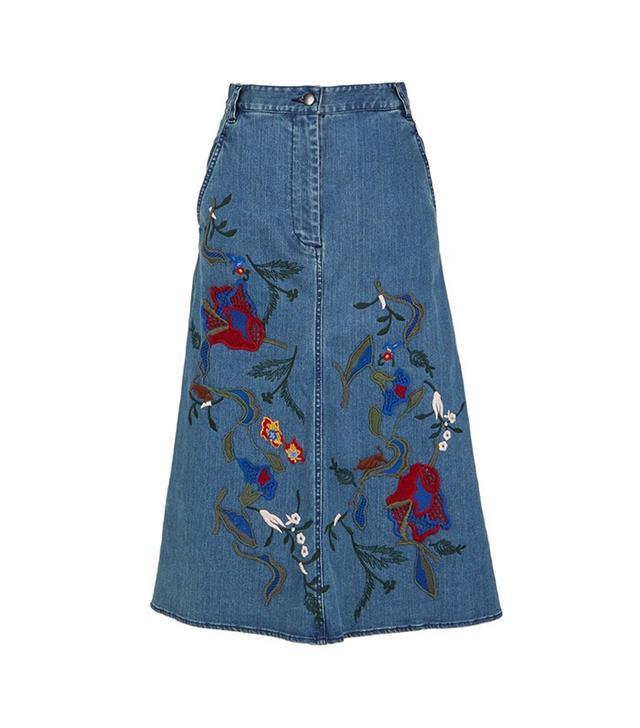 Tibi Marisol Embroidered Denim Skirt