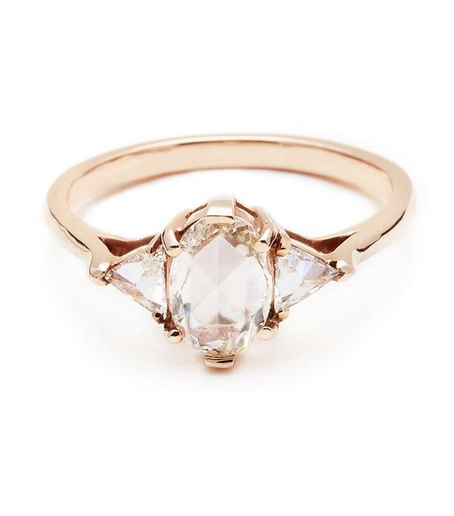 Anna Sheffield Oval Bea Ring - White Diamond