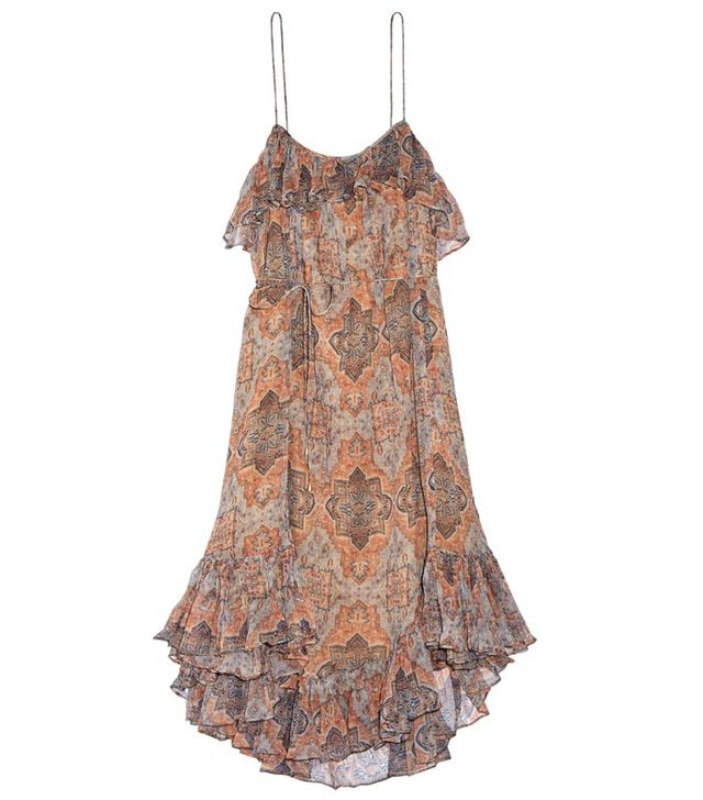 Zimmerman Harlequin Heriz Printed Crinkled Silk-Georgette Dress