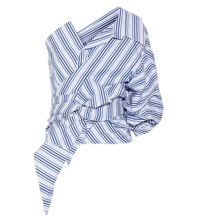 Johanna Ortiz Sherlock One-Shoulder Striped Cotton-Poplin Top