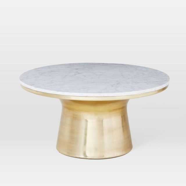 West Elm Marble-Topped Pedestal Coffee Table