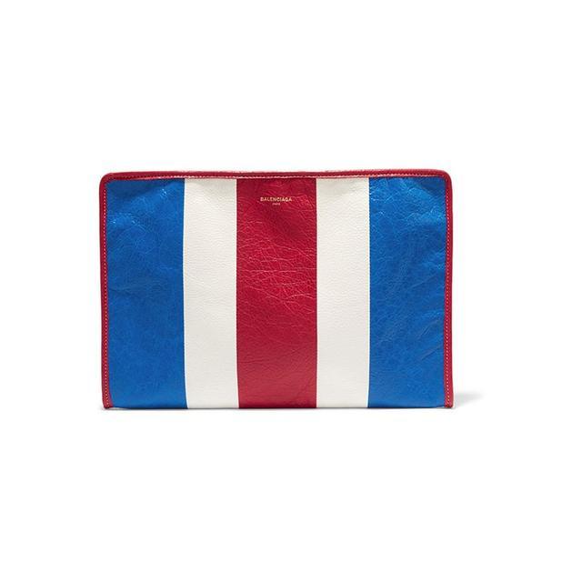 Balenciaga Bazar Striped Pouch