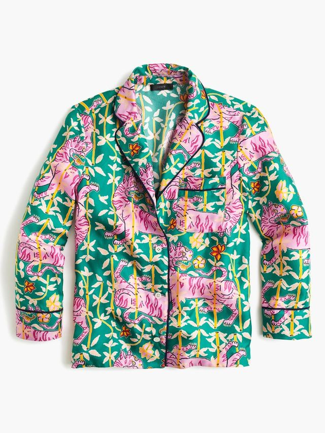 Drake's for J.Crew Pajama Top in Green Bengal Tiger