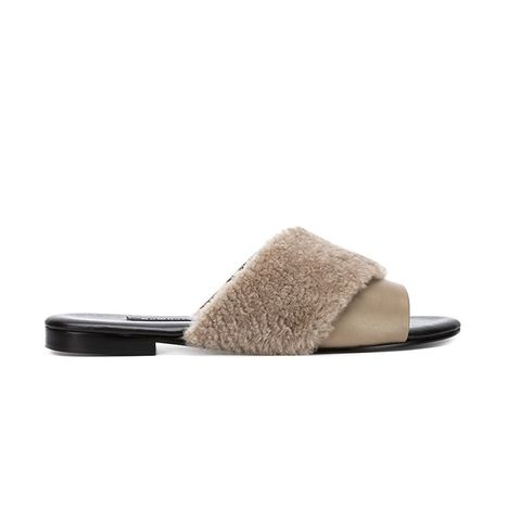 Shearling-Trim Sandals