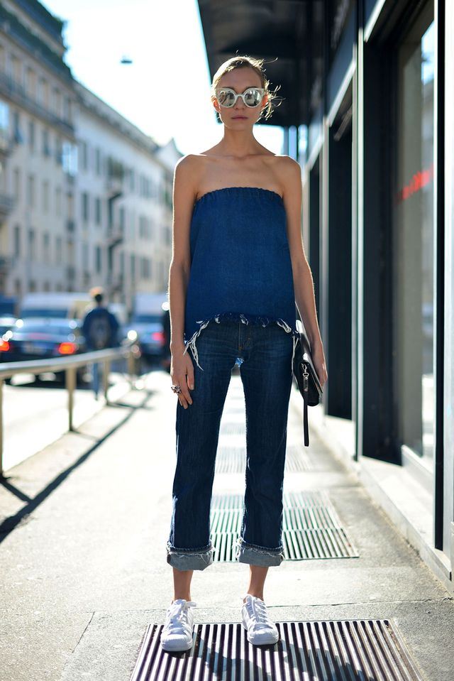 Hanna Zosimovajust gave us a whole new version of what it means to do double denim. How fresh does this denim boob tube andjeans look and feel?