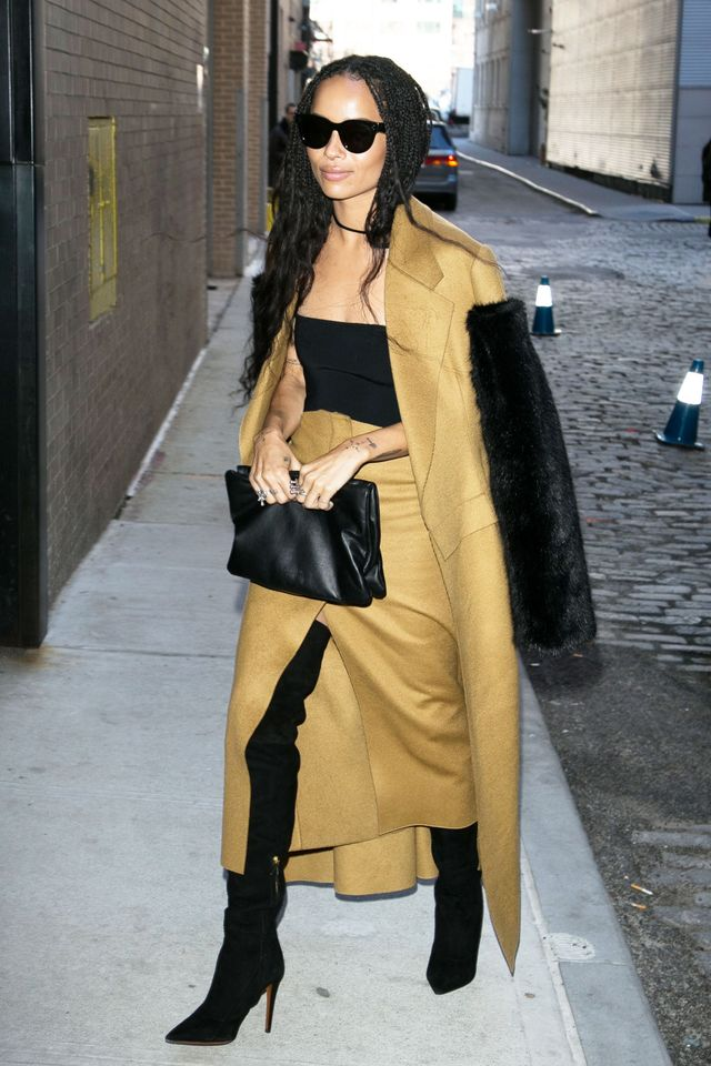 Can't wait until the weather warms up to try the trend? Zoë Kravitz is proving that yes youcan wear this look while the weather's still cold. Just layer a jacket on top and you're good.