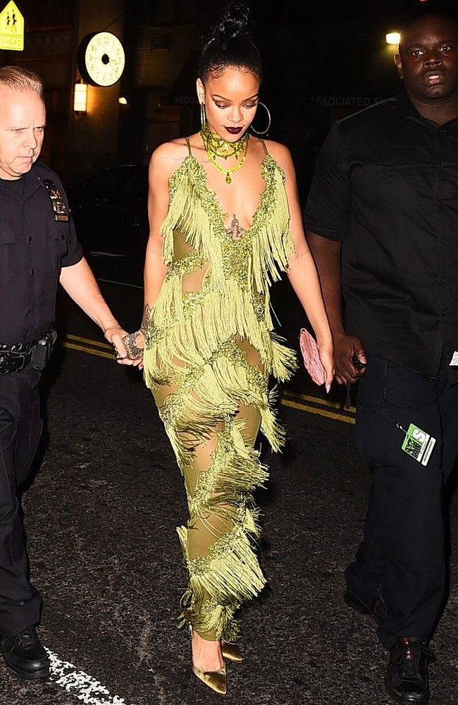 Rihanna post-VMAs lime green jumpsuit
