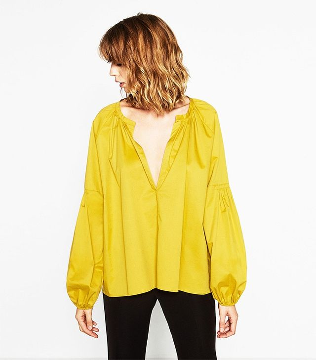 Zara Cotton Blouse With Full Sleeves