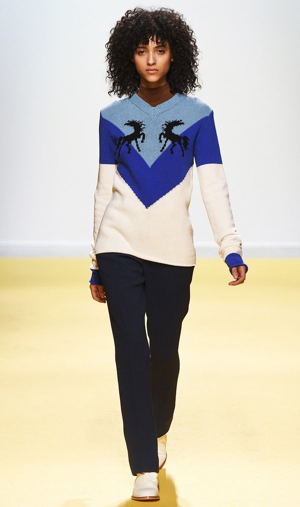 We're always eager to see Virgil Abloh's latest designs for Off-White, and this cheerful sweater that pranced down the catwalk did not disappoint.