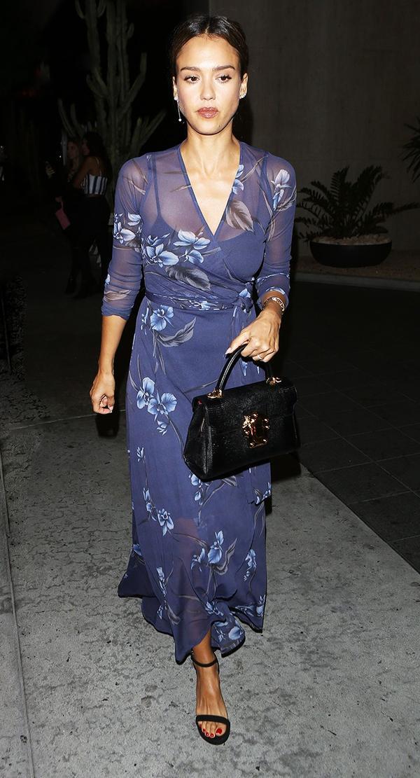 On Jessica Alba: Ganni dress; Dolce & Gabbana Lucia Tote ($2945); Stuart Weitzman NearlyNude Suede Sandals ($400).